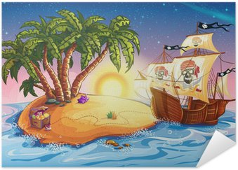 Plakát Ilustrace ostrov pokladů a pirátské lodi