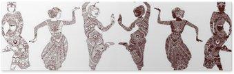 Plakát Indické tanečnice sada ručně kreslených stylu mehendi