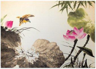 Plakát Inkoust lotus malba ručně kreslenými