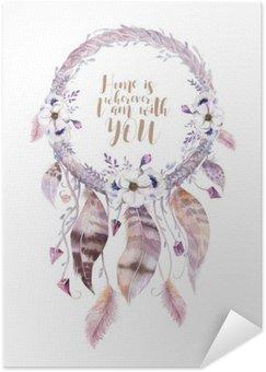 Plakát Izolované Akvarel výzdobě bohémský dreamcatcher. Boho feath