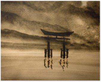 Plakát Japonská brána ve vodě
