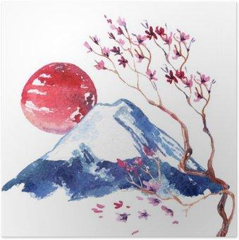Plakát Japonsko Třešňový květ.