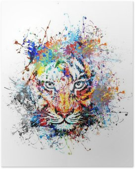 Plakat Jasne tło z tygrysem
