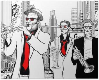 Plakát Jazzová kapela v ulici New Yorku