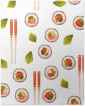 Plakat Jednolite wzór z sushi. tło wektor