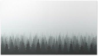 Plakát Jehličnatý les siluetu šablony. Woods ilustrační