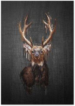 Plakát Jelen na tmavém pozadí. malovat efekt