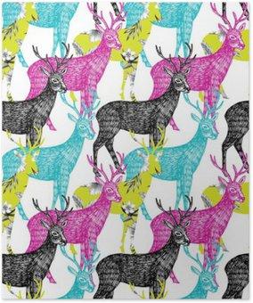 Plakát Jelen ručně malovaná bezešvé pozadí