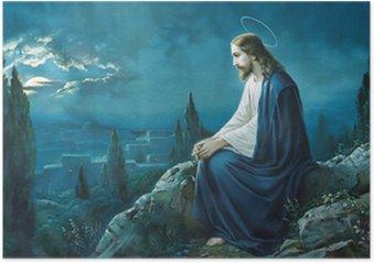 Plakát Ježíšova modlitba v Getsemanské zahradě.