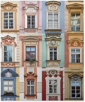 Plakát Koláž z barevných oken Praha, Česká republika