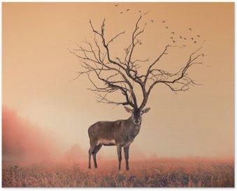 Plakát Koncepční Deer jelen, suchý strom jako jelena jelen