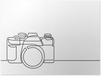 Plakát Kontinuální perokresba retro fotoaparáty