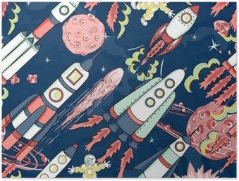 Plakát Kosmická loď bezešvé vzor