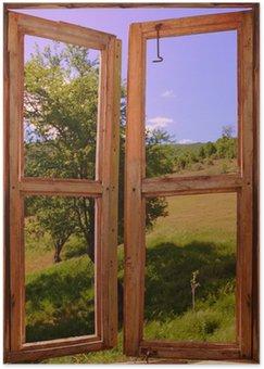 Plakát Krajina vidět přes okno