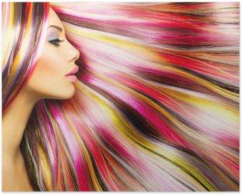 Plakát Krása Modelka dívka s barevné barvené vlasy