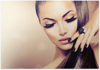 Plakát Krása Modelka dívka s dlouhými hnědými vlasy zdravé