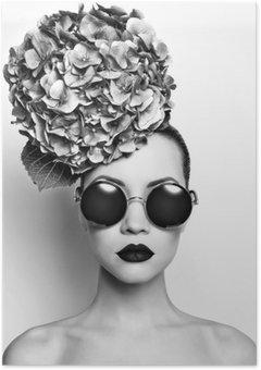 Plakát Krásná dáma s hortenzie