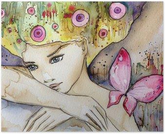Plakát Krásná dívka s motýl