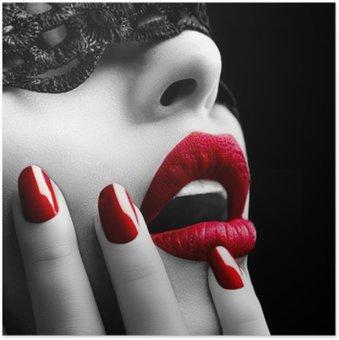 Plakát Krásná žena s černou krajkou maskou přes oči