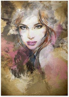 Plakát Krásná ženská tvář. akvarel ilustrace