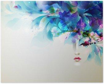 Plakát Krásné abstraktní ženy s prvky abstraktní návrhu