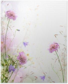 Plakát Krásné pastel květinové hranice - rozmazané pozadí