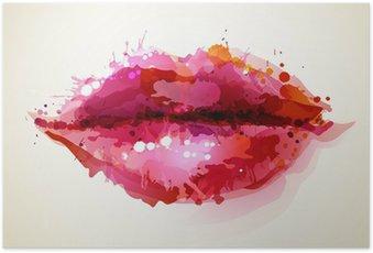 Plakát Krásné ženách rty tvořená abstraktními blot