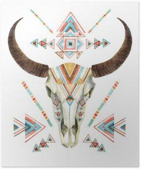 Plakát Kráva lebka v kmenové stylu. lebka zvíře s etnické ornament
