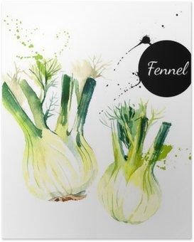 Plakát Kuchyň bylinky a koření banner. Vektorové ilustrace. Akvarel