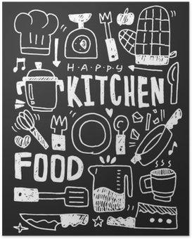 Plakát Kuchyň prvky čmáranice kreslené ručně řádek ikon, eps10