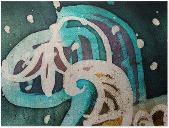 Plakát Květina, horký batikování, pozadí textury, ruční práce na hedvábí, abstraktní umění surrealismus