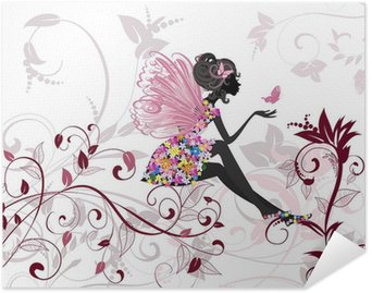 Plakát Květinová víla s motýly