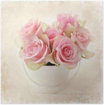 Plakát Květiny. růžových růží ve váze