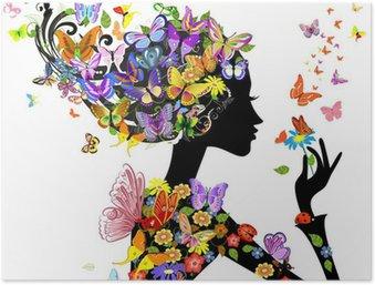 Plakát Květy dívka módní s motýly