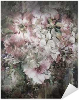 Plakát Kytice z různobarevné květiny akvarelu na plné barevné pozadí