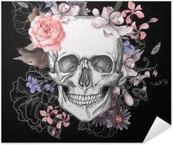 Plakát Lebka a květiny Den mrtvých