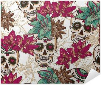 Plakát Lebka, Srdce a květiny bezešvé pozadí