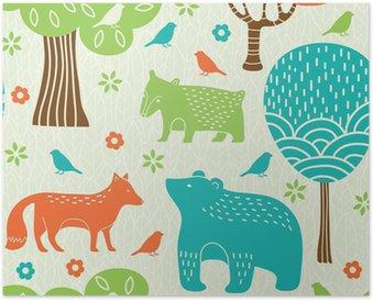 Plakát Lesní zvířata bezešvé vzor