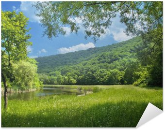 Plakát Letní krajina s řekou a modré nebe