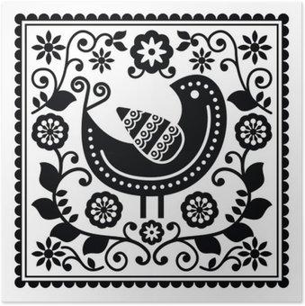 Plakát Lidového umění černé vzor s ptákem a květiny