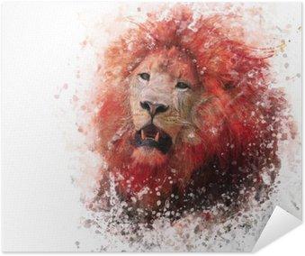 Plakat Lion Head akwarela