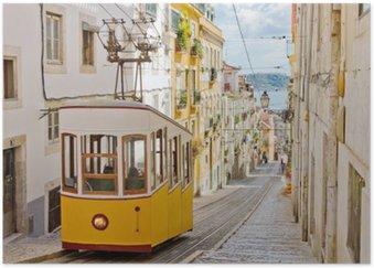 Plakát Lisabonské Gloria lanová dráha spojuje centrální s Bairro Alto.