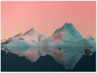 Plakát Low-Poly 3d horské krajině s vodou a reflexe
