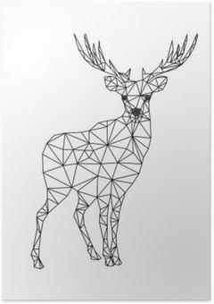 Plakát Low poly charakter jelenů. Designs for x-mas. Vánoční ilustrace v řadě umělecký styl. Samostatný na bílém pozadí.