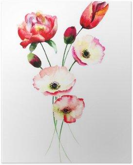 Plakát Máku a Tulipány květiny