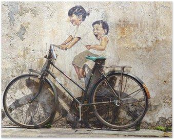 """Plakát """"Malé děti na kole"""" výjev."""