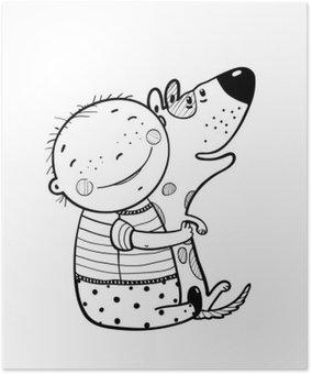 Plakát Malý chlapec Hugs psa Nejlepší Šťastný Přátelé Nástin