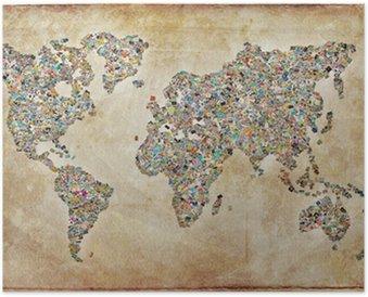 Plakát Mapa světa fotografie, vintage textury