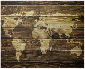 Plakát Mapa světa na dřevo pozadí