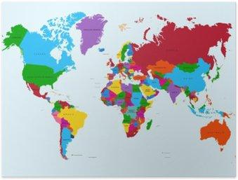 Plakát Mapa světa, pestré země atlas EPS10 vektorový soubor.